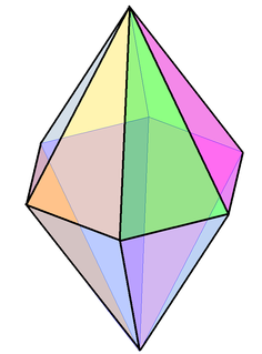 Bipyramid Polyhedron formed by joining a pyramid and its mirror image base-to-base