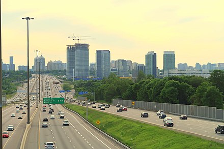 Highway 401 is a 400-series highway that passes west to east through Greater Toronto. Toronto's portion of Highway 401 is the busiest highway in North America. Highway 401 Densification.jpg