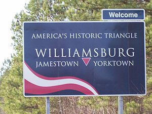 Historic Triangle - Historic Triangle sign on U.S. Route 60 just west of Grove, Virginia near Busch Gardens Williamsburg theme park in James City County outside Williamsburg