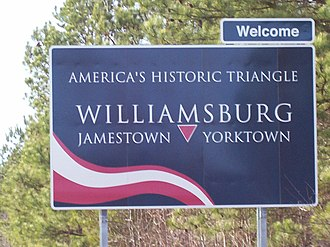 James City County, Virginia - Historic Triangle sign on U.S. Route 60 just west of Grove, Virginia near Busch Gardens Williamsburg theme park in James City County outside Williamsburg