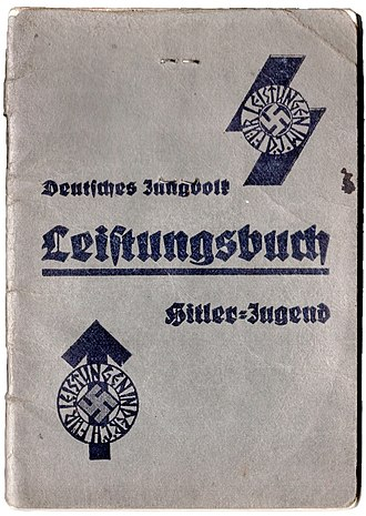 "Hitler Youth - ""Leistungsbuch"" (Performance booklet) of a Hitler Youth / Deutsches Jungvolk member. The symbol in the upper right, based on the Sowilo rune, reads ""For accomplishments in the DJ (Deutsches Jungvolk)"". The symbol in the lower left, based on the Tiwaz rune, reads ""For accomplishments in the HJ (Hitler Jugend)""."