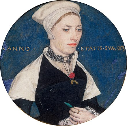 Jane Small, portrait miniature, c. 1540. Bodycolour on vellum, Victoria and Albert Museum, London. Holbein, Hans (II) - Mrs Jane Small, formerly Mrs Pemberton - Google Art Project.jpg