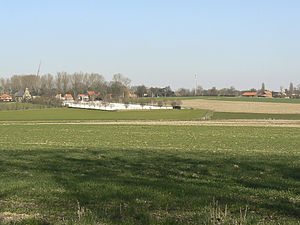 Hooge, Ypres - View of Hooge from the south, with the military cemetery clearly visible