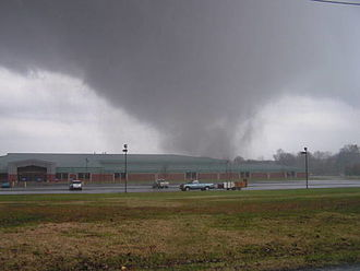 Tornado outbreak of mid-November 2005 - F4 tornado behind James Madison Middle School in Madisonville, Kentucky on November 15, 2005 by Leonard Costanzo.