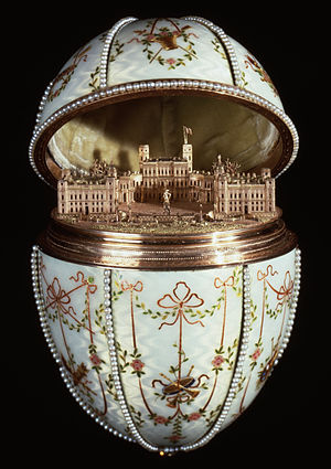 Gatchina Palace - This Fabergé egg is a replica of the Gatchina Palace.