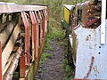 Hudswell Clarke 0-6-0DM mining loco & trucks, Clearwell Caves, Forest of Dean 18.04.04 P1010037 (10210292244).jpg