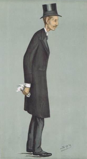 """Hugh Cecil, 1st Baron Quickswood - """"Greenwich"""". Cecil as caricatured by Spy (Leslie Ward) in Vanity Fair, October 1900"""