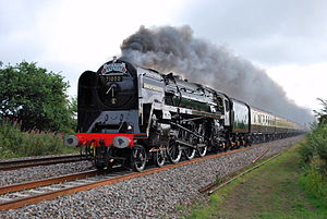 "BR Standard Class 8 - No.71000 ""Duke of Gloucester"" hammering across the Somerset Levels on the Torbay Express"