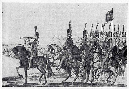 Hungarian hussar troops set up by the Hungarian nobility, during the Austro-Turkish War of 1787-1791. Hungarian troops in 18th century.jpg