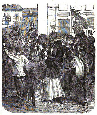 Siege of Buda (1849) - The people of Pest welcoming the first Hungarian Hussars who entered in Pest on 24th April 1849