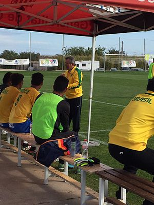 Brazil at the 2016 Summer Paralympics - Brazil during halftime at a game in the IFCPF Pre Paralympic Tournament Salou 2016, the last major preparation tournament for the Rio Games.