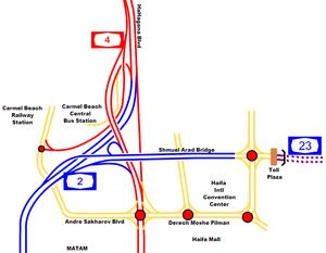 Carmel Tunnels - Image: I Ljunction haifadarom