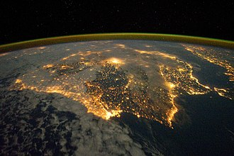 Iberian Peninsula - Satellite image of Iberia at night
