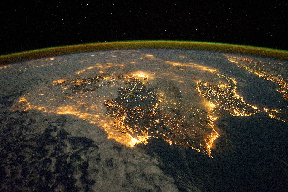 Iberian Peninsula at Night - NASA Earth Observatory