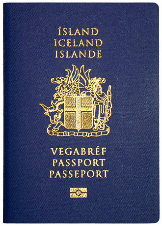 Icelandic passport - The front cover of a contemporary Icelandic biometric passport