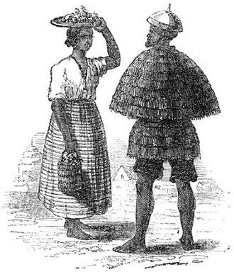 Ilocano people - An Ilocano woman and man wearing kattukong and annangá, circa 1820s.