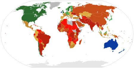 Carte du monde, où les pays sont colorés selon leur indice de liberté économique