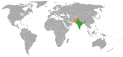 Map indicating locations of India and Pakistan