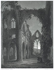 Interior of Tintern Abbey by Moonlight. Looking East