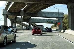 Interstate 105 (California) - Westbound view along Interstate 105 through the Interstate 110 interchange