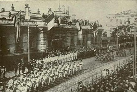 American, British, and Japanese Troops parade through Vladivostok in armed support to the White Army IntervencionInternacionalEnVladivostok--throughrussianre00willuoft.jpg