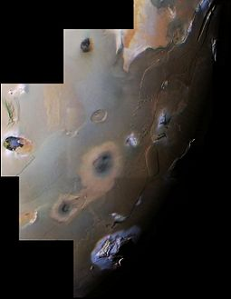Voyager 1 mosaic covering Io's south polar region. This includes two of Io's ten highest peaks, the Euboea Montes at upper extreme left and Haemus Mons at bottom. Io VGR South polar color mosaic.jpg