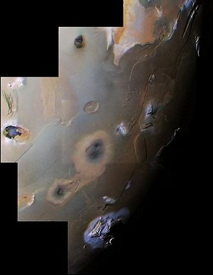 Io (moon) - Mosaic of Voyager 1 images covering Io's south polar region. The view includes two of Io's ten highest peaks, the Euboea Montes at upper extreme left and Haemus Mons at bottom.