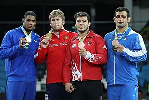 Wrestling at the 2016 Summer Olympics – Men's Greco-Roman 98 kg - Image: Iran's Rezaei Wins 98kg Bronze in Men's Greco Roman Wrestling 13