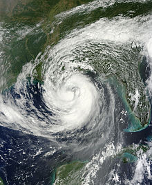 Satellite imagery of a newly declared hurricane south of Louisiana