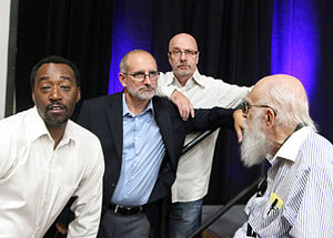 Dean Cameron - Victor Isaac, Cameron, Emery Emery and James Randi at the James Randi Educational Foundation's The Amaz!ng Meeting in 2015