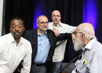 Dean Cameron - Victor Isaac, Cameron, Emery Emery and James Randi at the James Randi Educational Foundation's The Amaz!ng Meeting in 2015