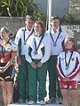 Island Games 2011 women's team Town Centre Criterium cycling gold medal winners.JPG