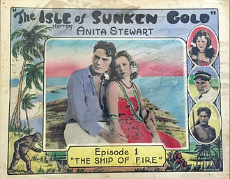 Bruce Gordon (actor/director) - Lobby card from Isle of Sunken Gold (1927) with Bruce Gordon and Anita Stewart
