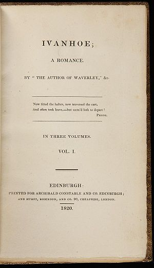 Ivanhoe - Title page of 1st edition (1820)