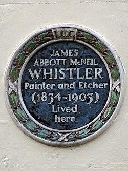 Photo of James Abbott Mcneil Whistler blue plaque