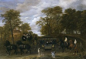 The Arrival of Cornelis de Graeff and Members of His Family at Soestdijk, His Country Estate - Image: Jacob van Ruisdael Cornelis de Graeff with his Wife and Sons (ca.1660)