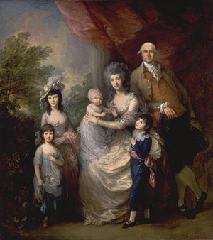 James Baillie (c. 1737–1793) - James Baillie's family, by Thomas Gainsborough, RA (c. 1784) (100 x 90 inches)