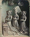Jeanne Peschard and her daughters, Jacquette and Catherine Budé, as donors, by The Master of the Dreux Budé Triptych.jpg