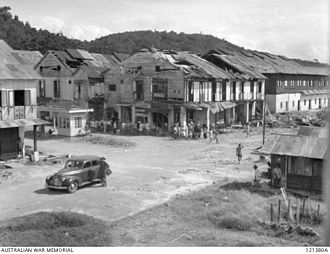 Kota Kinabalu - Bomb damage at the town of Jesselton during World War II, this was part of the Borneo Campaign by Allied forces during 1945.