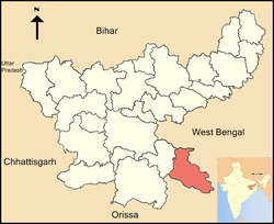 Location of East Singhbhum district in Jharkhand