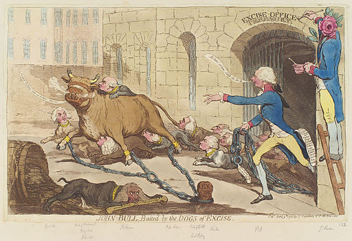 John-Bull, baited by the dogs of excise by James Gillray