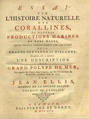 """John Ellis (naturalist) -  Title page of French translation of """"Natural History of the Corallines"""""""