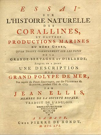"John Ellis (naturalist) - Title page of French translation of ""Natural History of the Corallines"""