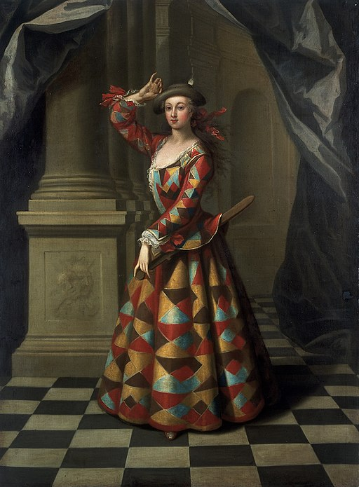 John Ellys Hester Booth as a female Harlequin VA
