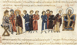 Medieval miniature of people standing between two seated rulers, one in Arab garb and one in Byzantine