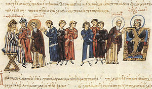 Medicine in the medieval Islamic world - The Byzantine embassy of John the Grammarian in 829 to Al-Ma'mun (depicted left) from Theophilos (depicted right)