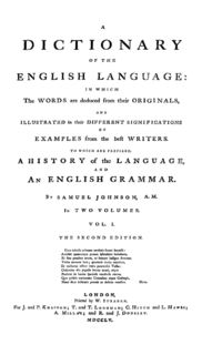 <i>A Dictionary of the English Language</i> 1755 dictionary by Samuel Johnson
