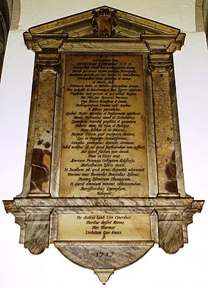 Jonathan Edwards (academic) - The memorial stone to Edwards in the Jesus College chapel.