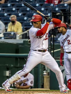 Juan Soto sets up with two men on and no outs in the bottom of the ninth from Nationals vs. Braves at Nationals Park, April 6th, 2021 (All-Pro Reels Photography) (51101670597) (cropped).png