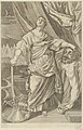 Judith standing and looking up, holding the head of Holofernes in her left hand and a sword in her right, tents in the background, after Reni MET DP841471.jpg